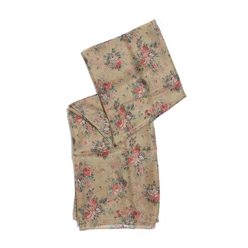100% Mulberry Silk Brown, Pink and Multi Colour Floral Pattern Scarf (Size 180x100 Cm)