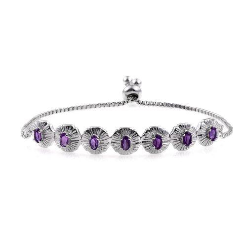 Amethyst (Ovl) Adjustable Bracelet (Size 6 to 9) in ION Plated Platinum Bond 1.500 Ct.