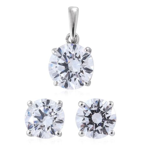 J Francis - 9K W Gold (Rnd) Stud Earrings (with Push Back) and Solitaire Pendant Made with SWAROVSKI ZIRCONIA