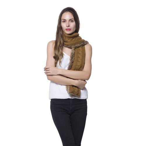 Double Sided Faux Fur Knitted Scarf - Chocolate (Size 145x15 Cm)