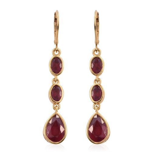 AAA African Ruby (Pear) Lever Back Earrings in 14K Gold Overlay Sterling Silver 7.750 Ct.