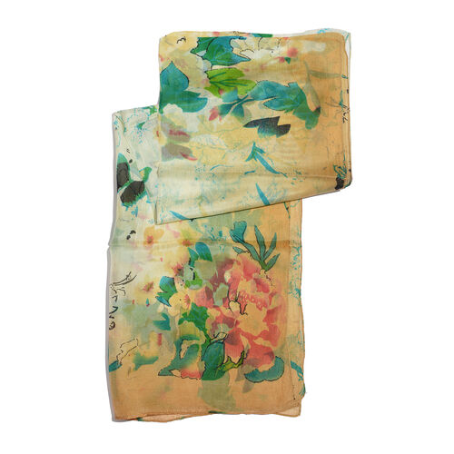SILK MARK- Made in Kashmir 100% Silk Green, Golden and Multi Colour Floral and Butterfly Pattern White Colour Scarf (Size 180x50 Cm)