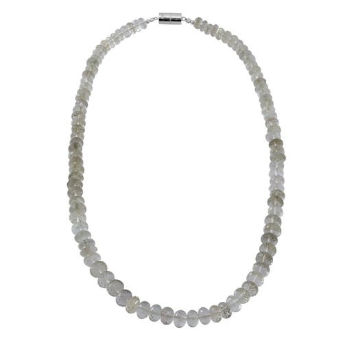 Limited Available Rare Green Amethyst Necklace (Free Size) with Magnetic Clasp in Rhodium Plated Sterling Silver 200.000 Ct.