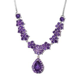 Lusaka Amethyst (Pear 5.30 Ct) Adjustable Floral Necklace (Size 20) in Platinum Overlay Sterling Silver 10.750 Ct.