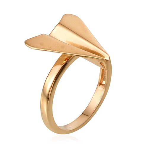 14K Gold Overlay Sterling Silver Origami Airplane Ring, Silver wt 4.13 Gms.