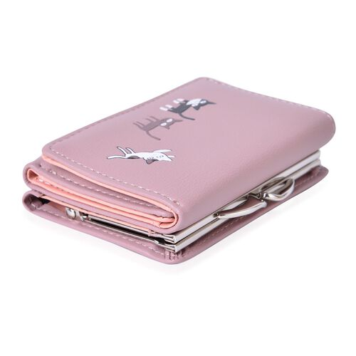 Light Pink and Multi Colour Kitty Pattern Ladies Wallet with Multiple Card Slots (Size 11x8.5 Cm)