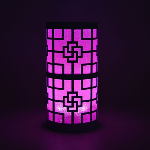 Home Decor - Chinese Knot Pattern Pink Colour LED Lamp (Size 23X11 Cm)
