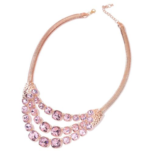 Simulated Pink Diamond BIB Necklace (Size 22 with 2 inch Extender) in Rose Gold Tone