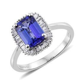 RHAPSODY 950 Platinum 1.95 Ct AAAA Tanzanite Halo Ring with Diamond (VS/E-F)