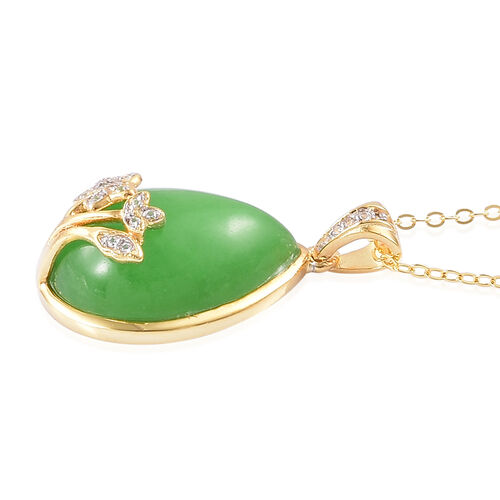 Green Jade (Pear), White Zircon Pendant With Chain in Yellow Gold Overlay Sterling Silver 12.340 Ct.