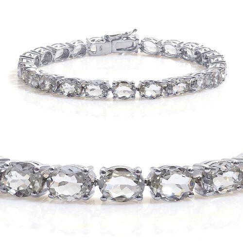 Green Sillimanite (Ovl) Tennis Bracelet in Platinum Overlay Sterling Silver (Size 7.5) 26.500 Ct.