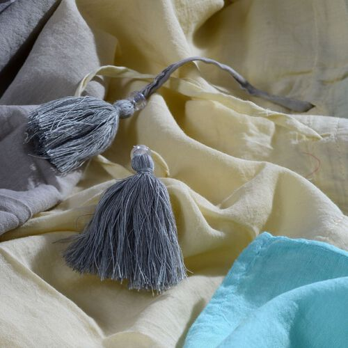 100% Cotton Sky Blue, Light Yellow and Grey Colour Ombre Effects Poncho (Size 85x60 Cm)