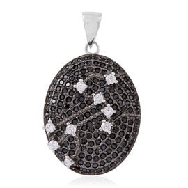 Red Carpet Collection-Boi Ploi Black Spinel (Rnd), Simulated White Diamond Pendant in Rhodium Plated Sterling Silver 5.150 Ct. Silver wt. 7.00 Gms.