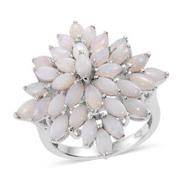 Australian Coober Pedy (Mrq) Floral Ring in Platinum Overlay Sterling Silver 3.500 Ct.