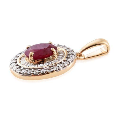 ILIANA 18K Yellow Gold 1.25 Ct. AAA Burmese Ruby Pendant withTwo Row Diamond SI S-H