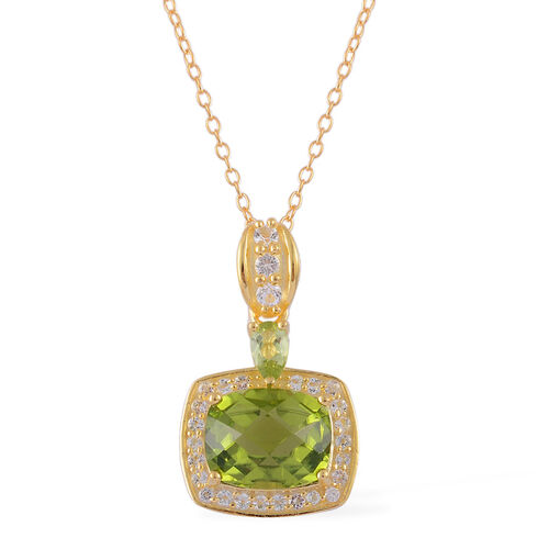 AA Hebei Peridot (Cush 3.25 Ct), White Topaz Pendant With Chain in Yellow Gold Overlay Sterling Silver 3.750 Ct.