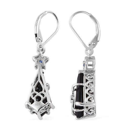 Black Tourmaline, Kanchanaburi Blue Sapphire Lever Back Earrings in Platinum Overlay Sterling Silver 7.000 Ct.
