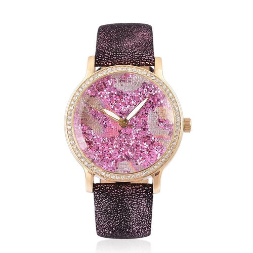 STRADA Japanese Movement Purple Stardust Dial Watch with White Austrian Crystal in Yellow Gold Tone with Stainless Steel Back
