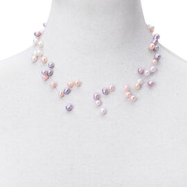 Multi Colour Fresh Water Pearl Necklace (Size 18) in Rhodium Plated Sterling Silver