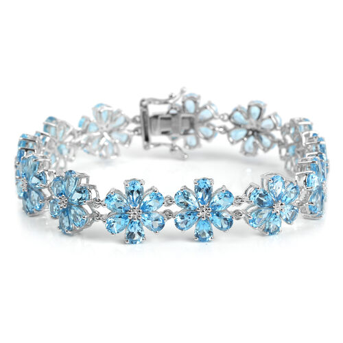 Swiss Blue Topaz (Pear) Flower Bracelet (Size 8) in Platinum Overlay Sterling Silver 32.487 Ct. Silver wt 18.50 Gms.