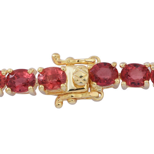 Madagascar Blue Sapphire (Ovl), Yellow Sapphire, Green Sapphire, Orange Sapphire, Red Sapphire and Pink Sapphire Tennis Bracelet (Size 7.5) in 14K Gold Overlay Sterling Silver 16.000 Ct.