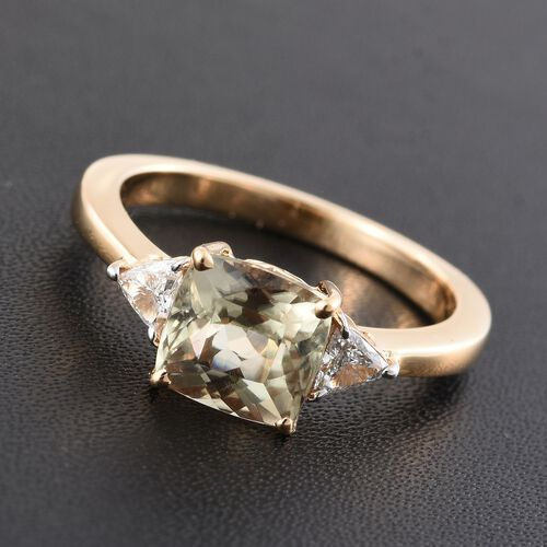 ILIANA 18K Y Gold Natural Turkizite (Cush 1.50 Ct), Diamond (SI/G-H) Ring 1.750 Ct.
