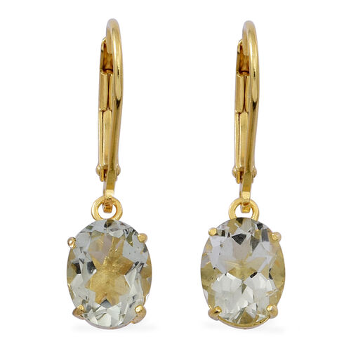AA Green Amethyst (Ovl) Lever Back Earrings in Yellow Gold Overlay Sterling Silver 3.000 Ct.