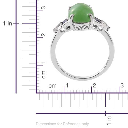 Green Jade (Ovl 6.00 Ct), Iolite and White Topaz Ring in Platinum Overlay Sterling Silver 6.520 Ct.