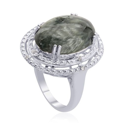 Siberian Seraphinite (Ovl 8.00 Ct), Diamond Ring in Platinum Overlay Sterling Silver 8.050 Ct.