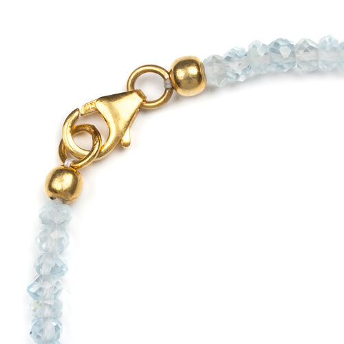 Sky Blue Topaz Beaded Gold Plated Friendship Bracelet with Lucky Horse Shoe Charm