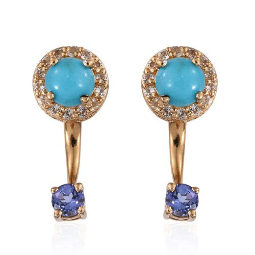 Arizona Sleeping Beauty Turquoise (Rnd), Tanzanite and White Topaz Earrings (with Push Back) in 14K Gold Overlay Sterling Silver 2.500 Ct.