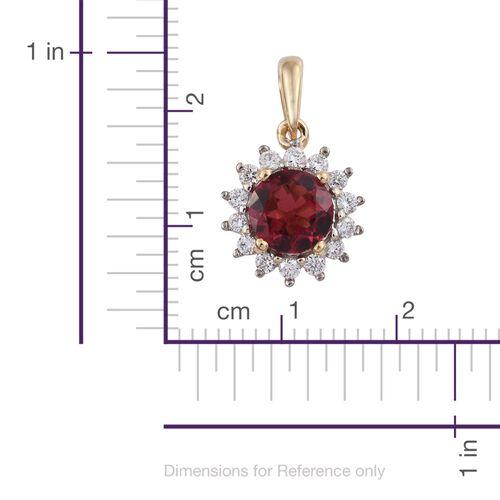 ILIANA 18K Y Gold AAA Ouro Fino Rubelite (Rnd), Diamond (SI/G-H) Halo Pendant 1.000 Ct.