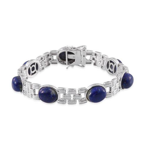 Lapis Lazuli (Ovl) Bracelet (Size 7.5) in Platinum Overlay Sterling Silver 32.000 Ct.