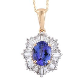ILIANA 18K Y Gold AAA Tanzanite (Ovl 2.05 Ct), Diamond Pendant With Chain 2.750 Ct.