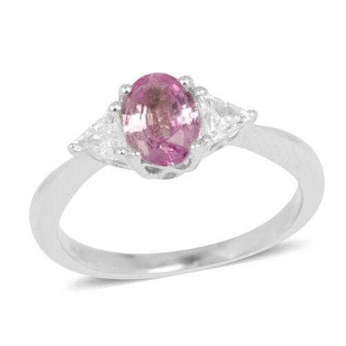 9K W Gold Pink Sapphire (Ovl 0.75 Ct), Diamond Ring 1.000 Ct.