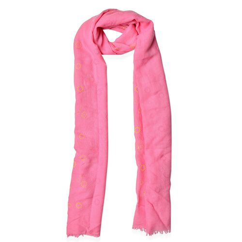 Yellow and Grey Colour Fireworks Pattern Pink Colour Scarf (Size 180x70 Cm)