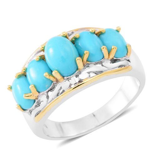 Arizona Sleeping Beauty Turquoise (Ovl 1.25 Ct) 5 Stone Ring in Rhodium and Yellow Gold Overlay Sterling Silver 4.750 Ct.