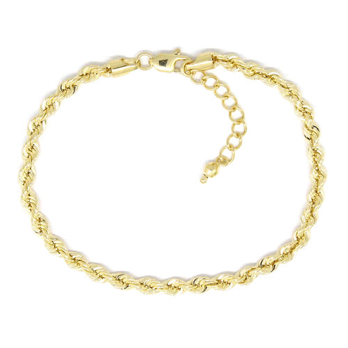 9K Yellow Gold Rope Bracelet (Size 7 with 1 inch Extender), Gold wt 3.15 Gms.