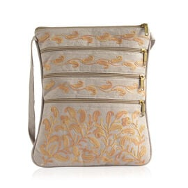 Hand Embroidered Yellow Colour Paisley Pattern Light Grey Suede Fabric Sling Bag (Size 27x20 Cm)