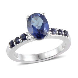 Limited Available- One Time Deal Odyssey Tanzanite Colour Quartz and Iolite Ring in Platinum Overlay Sterling Silver 1.112 Ct.
