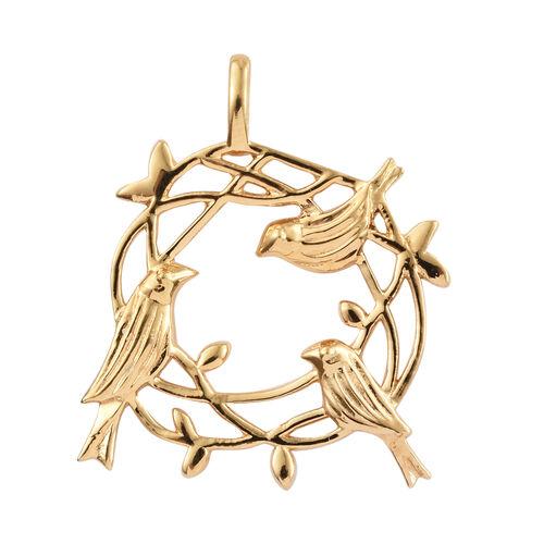 14K Gold Overlay Sterling Silver Birds Nest Pendant, Silver wt 4.26 Gms.