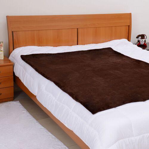 Faux Fur Chocolate Colour Blanket (Size 152x127 Cm)