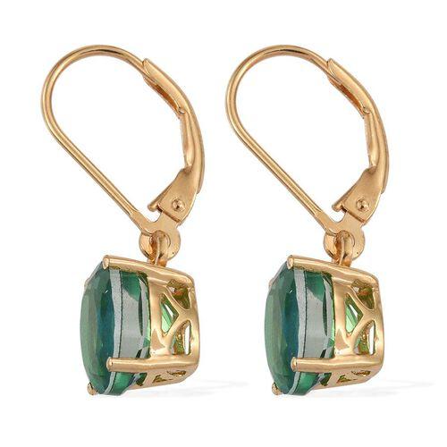 Peacock Quartz (Ovl) Lever Back Earrings in 14K Gold Overlay Sterling Silver 4.250 Ct.