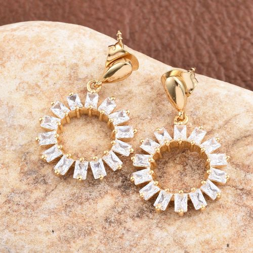 J Francis - 14K Gold Overlay Sterling Silver (Bgt) Earrings (with Push Back) Made wth SWAROVSKI ZIRCONIA