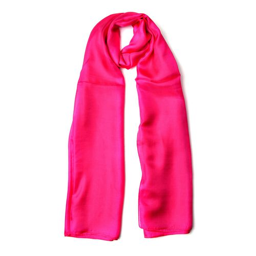 100% Mulberry Silk Magenta Colour Scarf (Size 180x110 Cm)