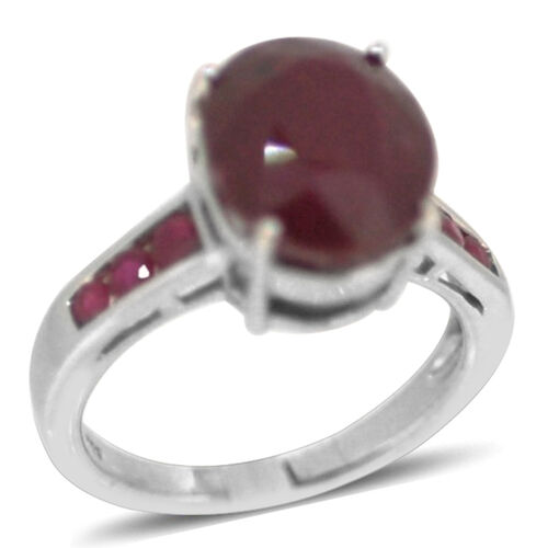 African Ruby (Ovl 8.65 Ct), Burmese Ruby Ring in Rhodium Plated Sterling Silver 9.250 Ct.
