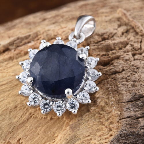 Premium Collection - Designer Inspired Rare Size Masoala Sapphire (Rnd 5.75 Ct), Natural White Cambodian Zircon Pendant in Platinum Overlay Sterling Silver 6.750 Ct.