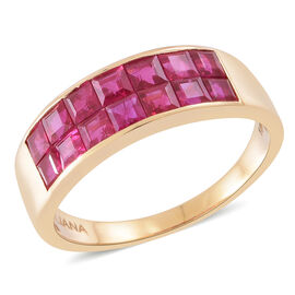 ILIANA 18K Y Gold AAAA Burmese Ruby (Sqr) Ring 3.000 Ct.