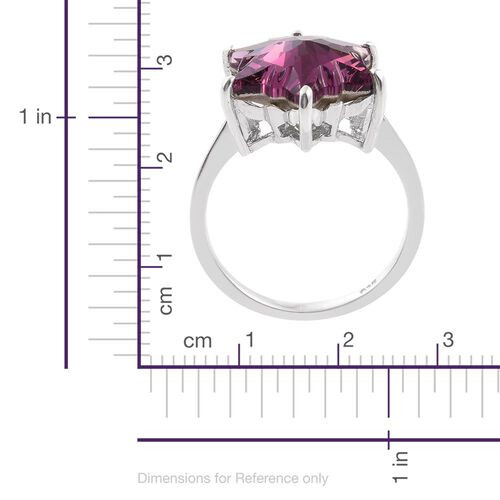 STELLARIS CUT J Francis Crystal from Swarovski - Rubellite Colour Crystal Solitaire Ring in Platinum Overlay Sterling Silver