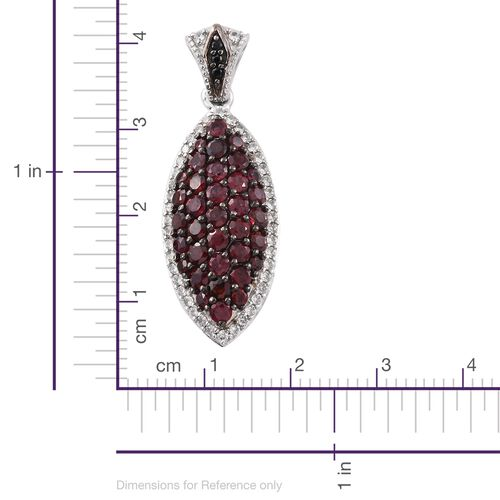 Arizona Anthill Garnet (Rnd), Boi Ploi Black Spinel and Natural Cambodian Zircon Pendant in Platinum Overlay Sterling Silver 3.000 Ct.